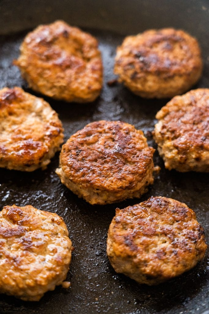 homemade breakfast sausage in skillet