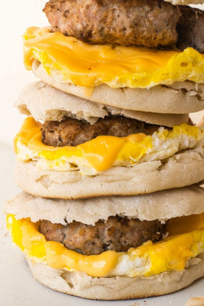 breakfast sausage on egg muffin