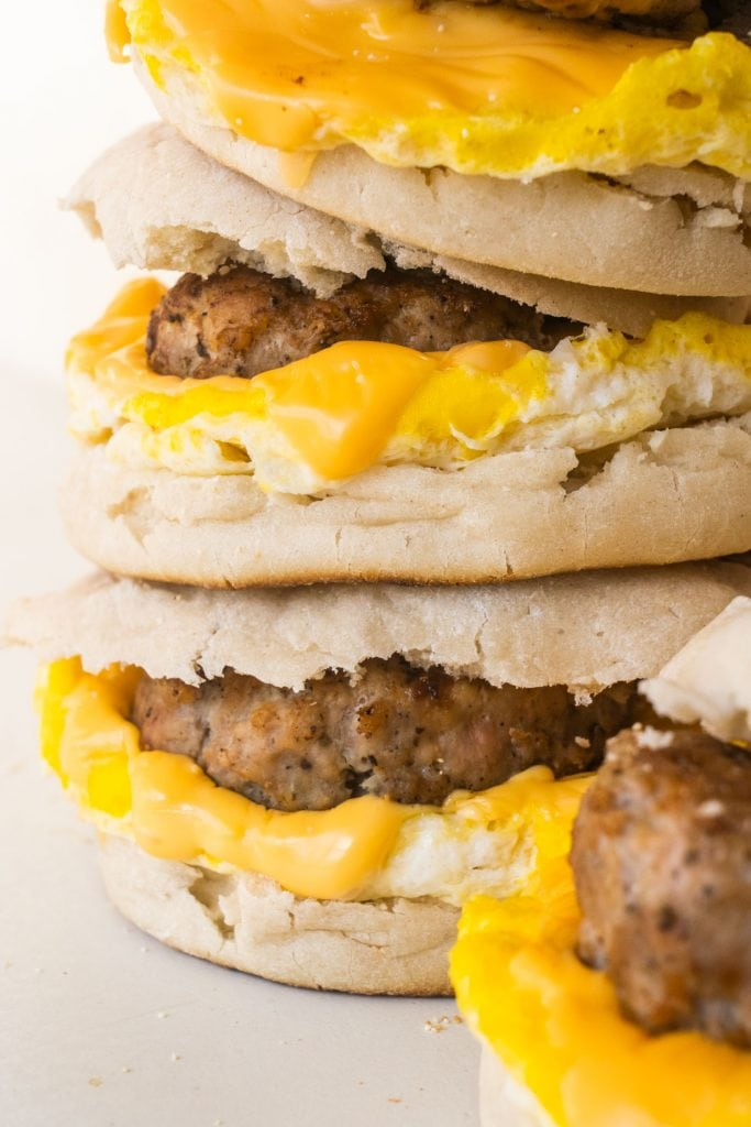 homemade breakfast sandwiches with sausage, egg and cheese