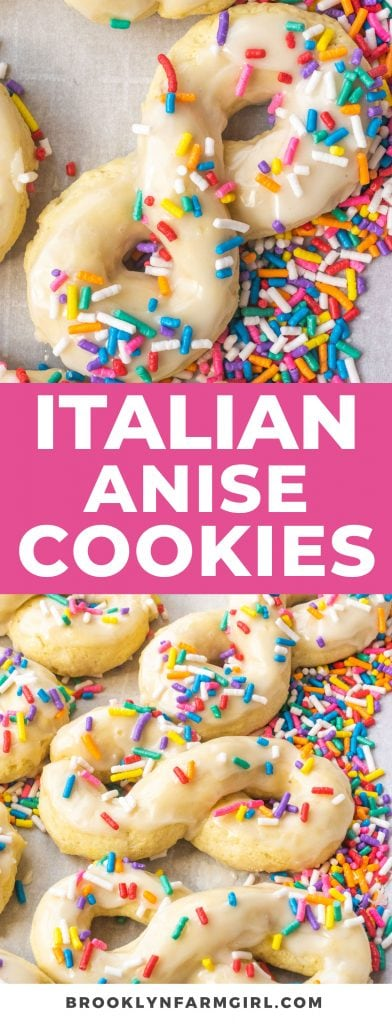 Easy Italian Anise Cookies that everyone loves.  These classic cookies are soft with vanilla icing and sprinkles on top! Recipe makes 18 cookies.