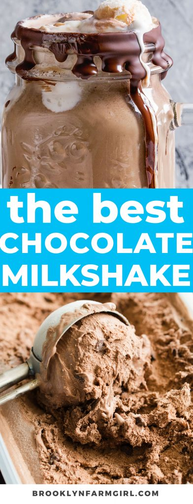 You need 4 simple ingredients to make the best chocolate milkshake ever - ice cream, milk, chocolate syrup and salt.  Rich, creamy and easy to make in 1 minute!