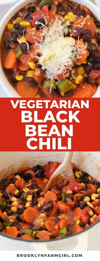 The BEST Vegetarian Black Bean Chili recipe, ready in 30 minutes for an easy weeknight dinner.   You won't miss the meat in this delicious healthy chili made on the stove top.