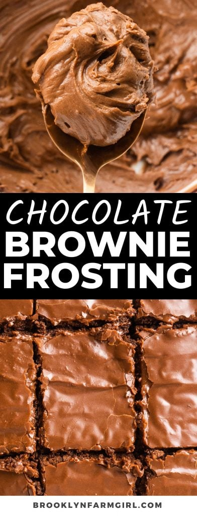 This decadent Chocolate Brownie Frosting is the best! Cocoa powder, sugar, butter, and peanut butter create a thick frosting that hardens on top of rich brownies as soon as it sets. It's the perfect pairing for any chocolate brownie, homemade or box!