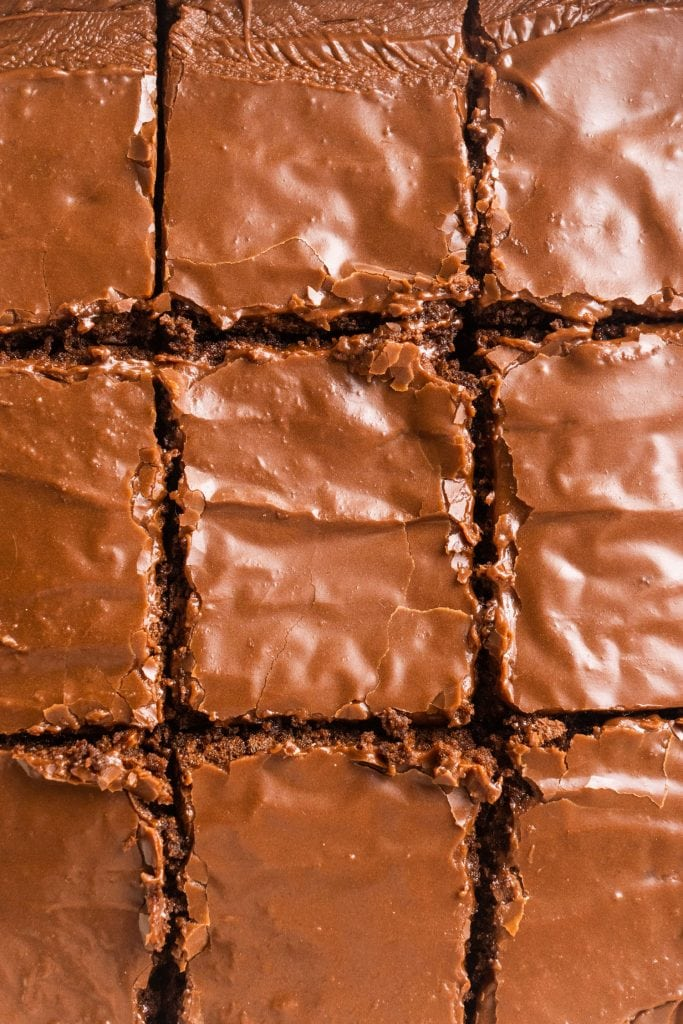 brownies cut into squares in baking dish.