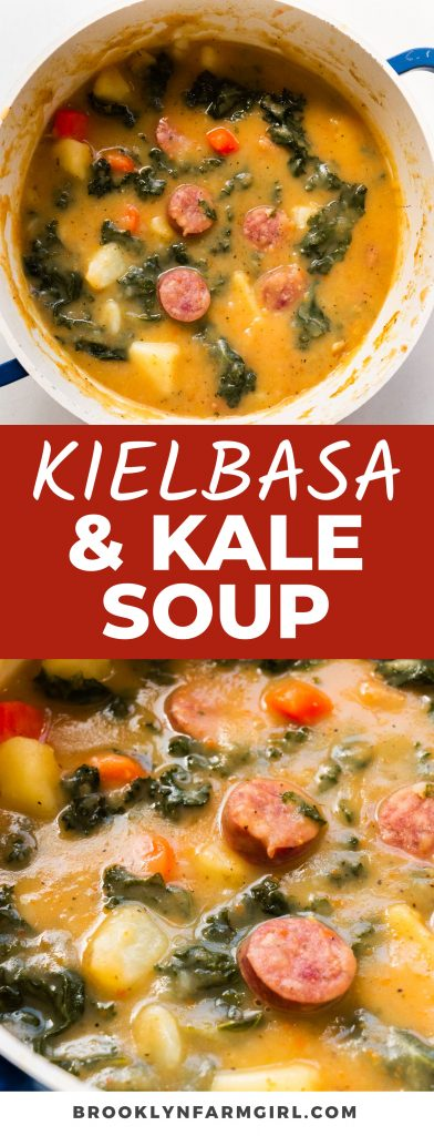 Creamy Kielbasa Sausage and Kale Soup made on the stovetop.  You'll love this thick stew made with pieces of kielbasa, kale and potatoes.
