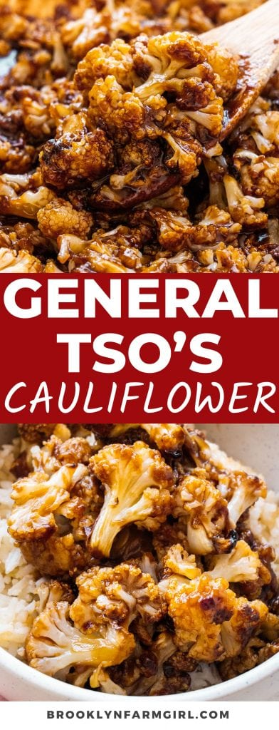 Quick and easy, extra saucy General Tso's Cauliflower recipe.  This tastes like takeout but it's so much more healthy because it's baked, not deep-fried in oil!