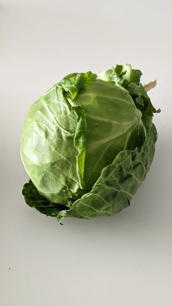 head of cabbage on white table.