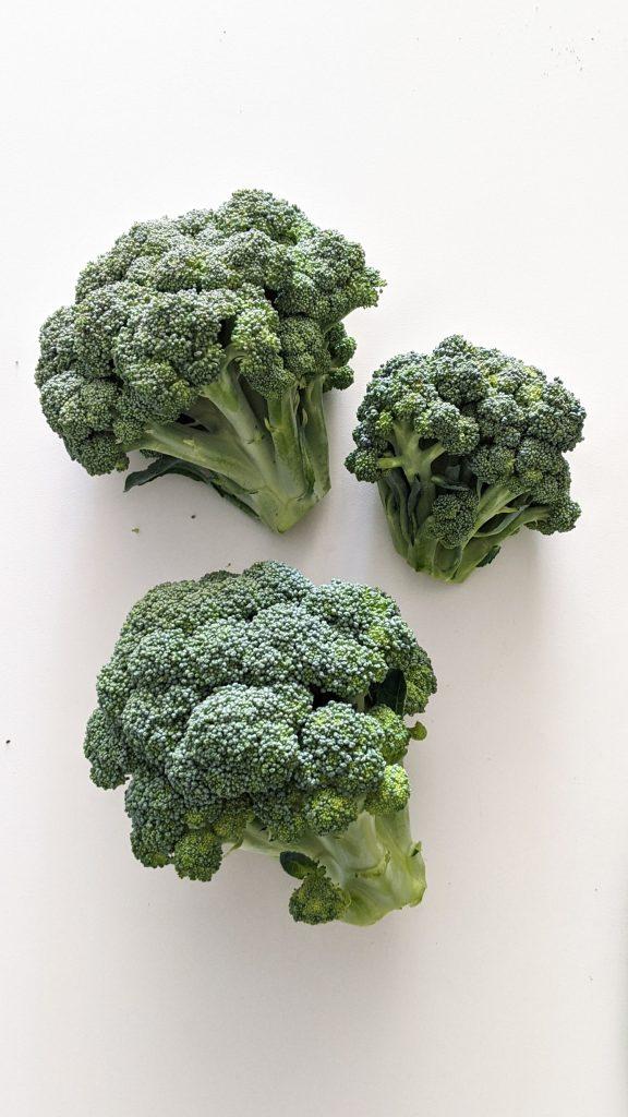 three heads of broccoli on table.