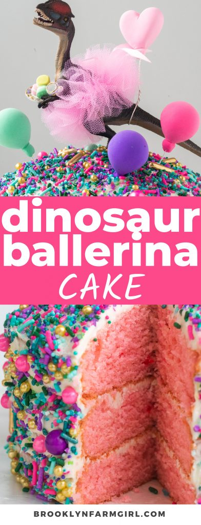 """My daughter's birthday cake request, """"I want a dinosaur ballerina cake"""".  Sprinkles, tutus, pink cake and lots of love.  Let's make it!"""