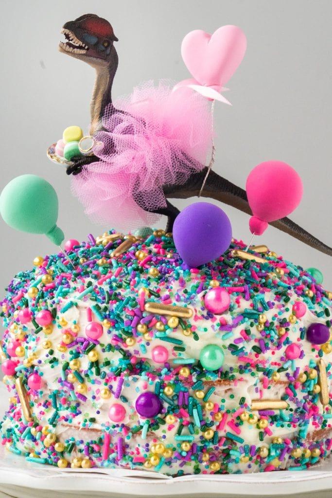 dinosaur ballerina with pink tutu on birthday cake with sprinkles