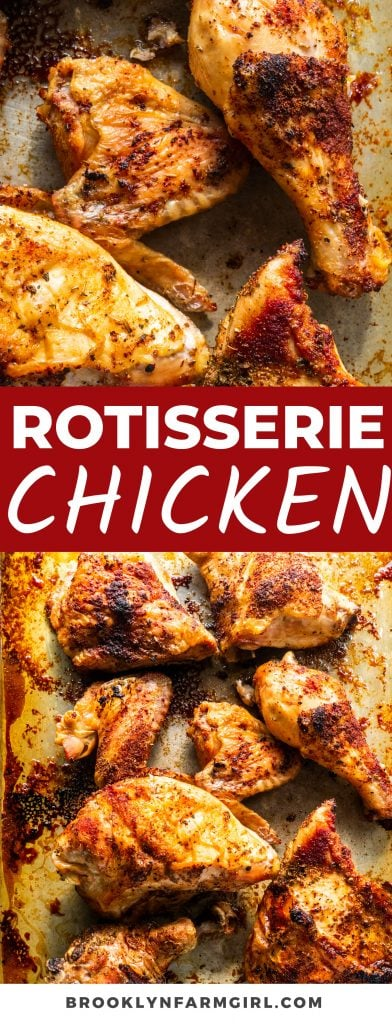 Learn How to Make Rotisserie Chicken in the Oven in just a handful of steps. Ready in 1 hour, the generously seasoned roasted chicken is tender and juicy, while being the perfect addition to sandwiches, casseroles, soups, and more.