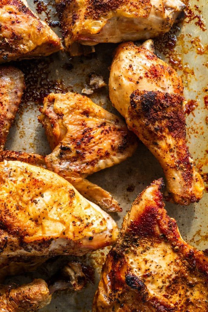 closeup of baked rotisserie chicken.