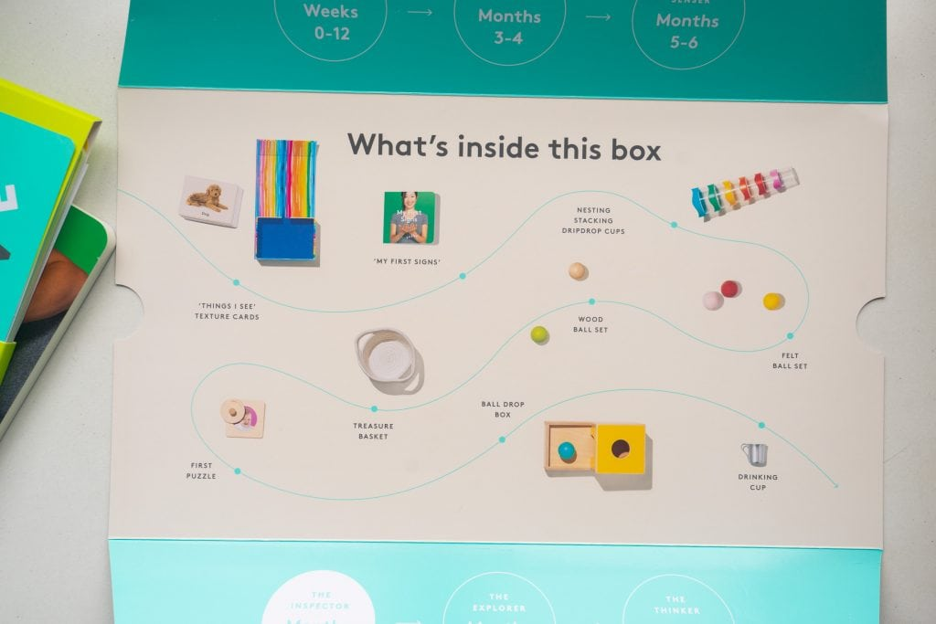 paper showing description of toys in box.