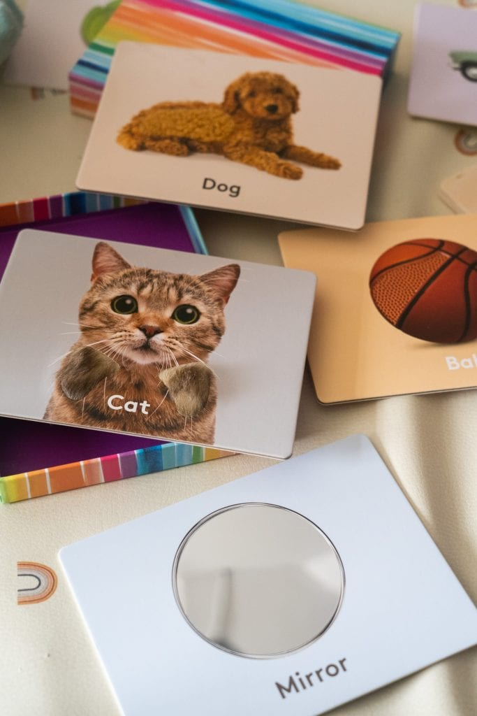 cat, dog, basketball, mirror picture cards for baby.