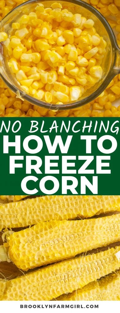 Simple step by step directions on how to freeze fresh corn without blanching. This frozen corn will last for months, letting you use it in soups, casseroles and more year round.