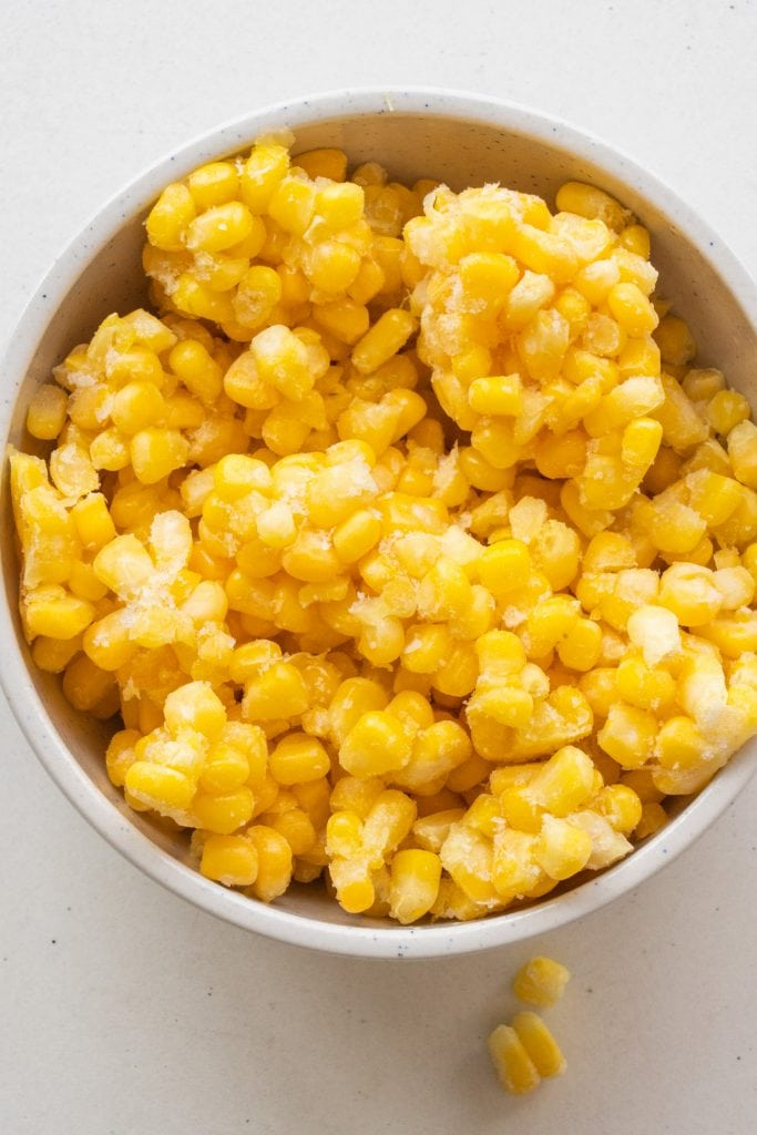 bowl of frozen corn.