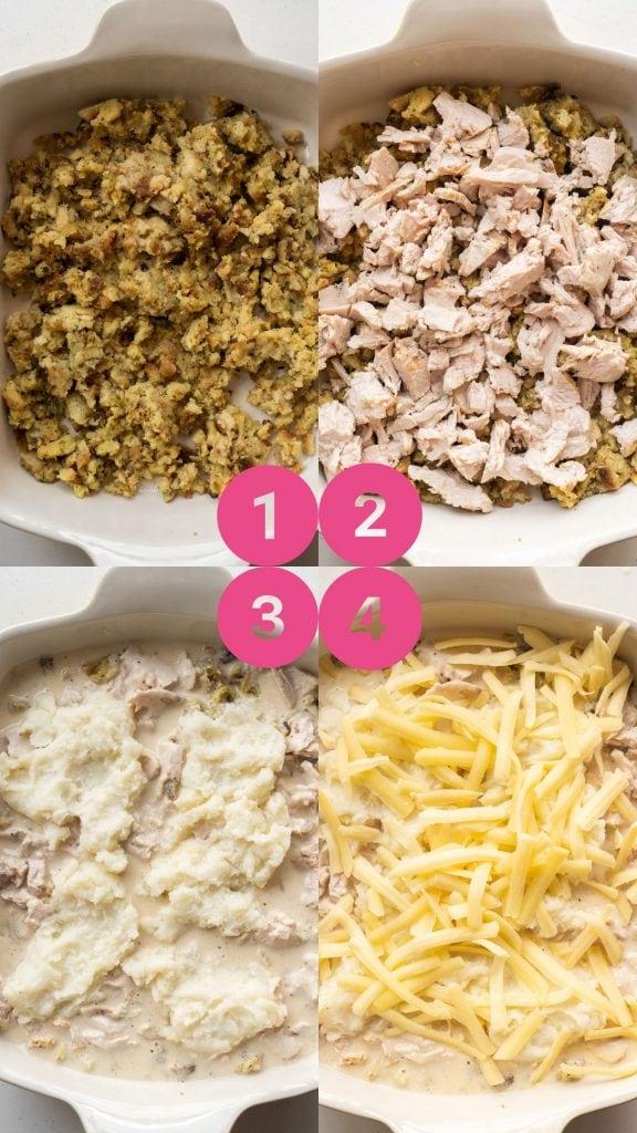 ingredients being layered in baking dish.