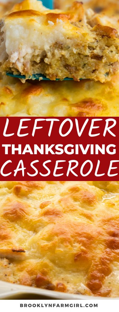 This Leftover Thanksgiving Turkey Casserole is the best way to use up your holiday leftovers! Made with stuffing, turkey, gravy, and mashed potatoes, this easy next-day dinner is so satisfying and ready to eat in less than an hour.