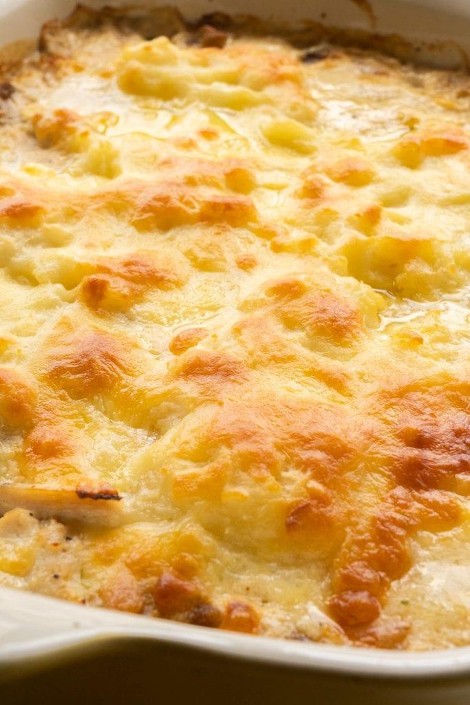cheesy bubbly turkey casserole in baking dish.