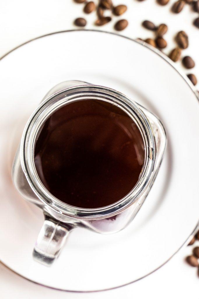 brewed cofee in mason jar.