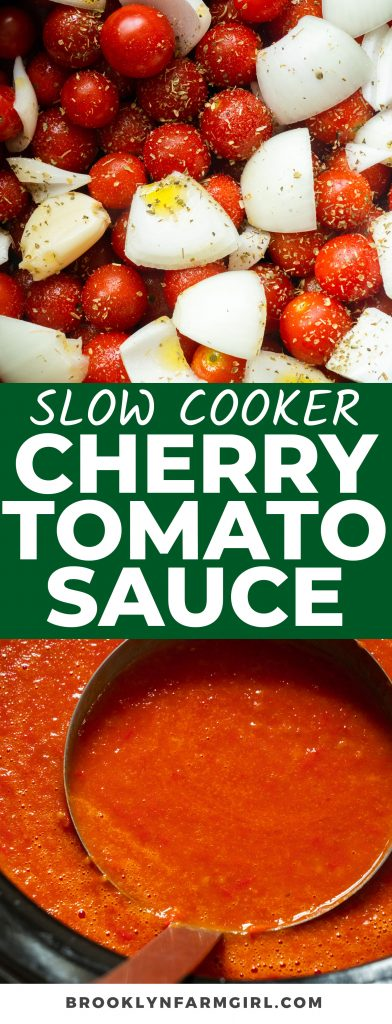 Slow Cooker Cherry Tomato Sauce recipe that's creamy and easy to make! Throw all your fresh garden ingredients into the crockpot and cook.  This is a delicious sauce to serve as is, can or freeze.