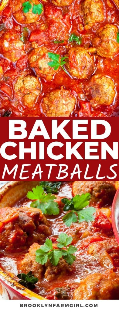 Easy oven baked chicken meatballs in a delicious tomato sauce that taste just like Chicken Parmesan! Serve with spaghetti for a simple meal the entire family will love.