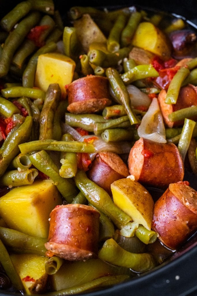 sausage and vegetables cooked in slow cooker.