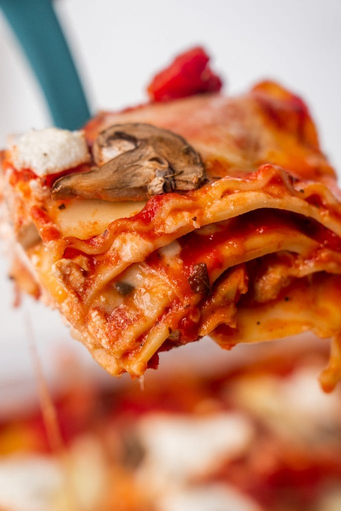 spatula with piece of lasagna on it.